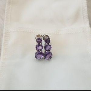 Sterling Silver pierced purple gem earrings